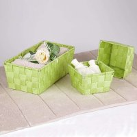 3PC Nylon Weaving Storage Basket Box Books Clothes Toy Orgagnizer Holder